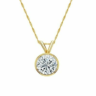 14K Yellow Gold Bezel Round-Cut Diamond Solitaire Pendant 0.90ct G-H SI1 w/Chain