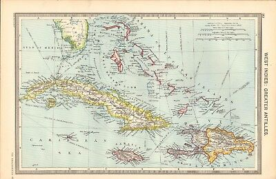 1907  Large Antique Map - West Indies-Greater Antilles, Dominica, Jamaica, Cuba