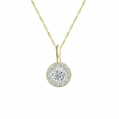 14K Yellow Gold Halo Round-Cut Diamond Solitaire Pendant 1/3ct G-H, VS2 w/Chain
