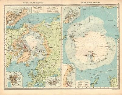 1907  Large Antique Map - North And South Polar Regions