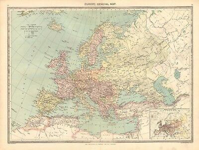 1907  Large Antique Map - Europe, General Map
