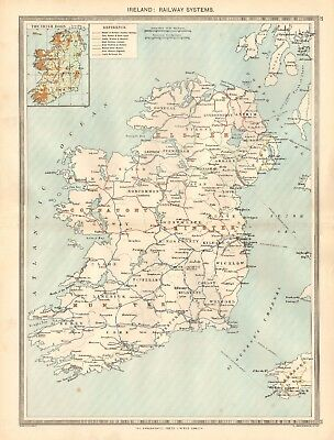 1907  Large Antique Map - Ireland : Railway Systems
