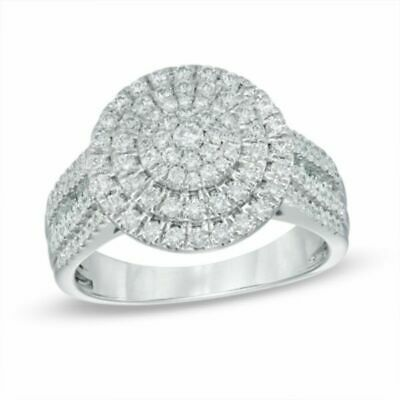 1 ct Natural Diamond Double Frame Ring in 10K White Gold