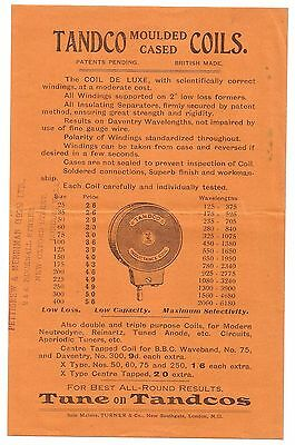TANDCO Moulded Cased Coils Advertising Flyer @1925 Very Scarce