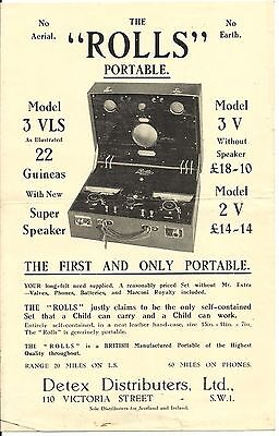 Detex 'Rolls' Radio Advertising Flyer 'The First and Only Portable' 1920s Scarce