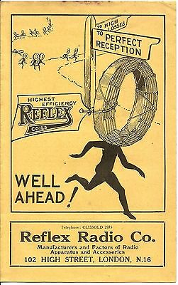 REFLEX Radio Co. Apparatus and Accessories advertising flyer 1920s. Very Scarce.