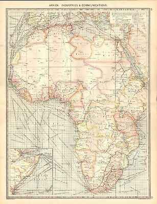 1907  Large Antique Map - Africa : Industries & Communications
