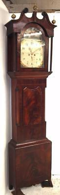 Antique English Longcase Clock Painted Dial Mahogany 8Day Grandfather Clock 1800