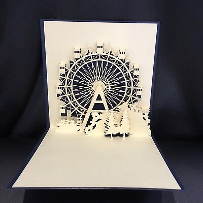 All occasions London Eye Navy handmade card 3d pop up & origami