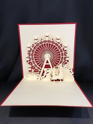All occasions London Eye Red handmade card 3d pop up & origami
