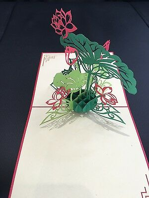 All occasions Lotus Flowers handmade card 3d pop up & origami