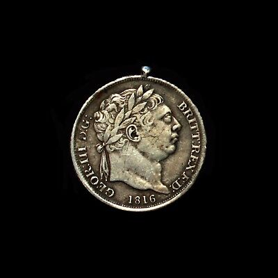 George III, 1816 Gilt & Enamelled Silver Sixpence / 6d Coin