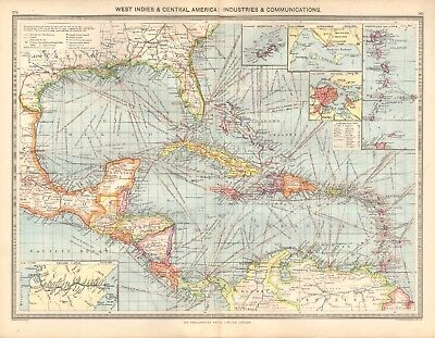 1907  Large Antique Map - West Indies & Central America : Industries & Communica