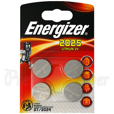 4 x Energizer Lithium CR2025 batteries 3V Coin cell DL2025 Alarms Pack of 4