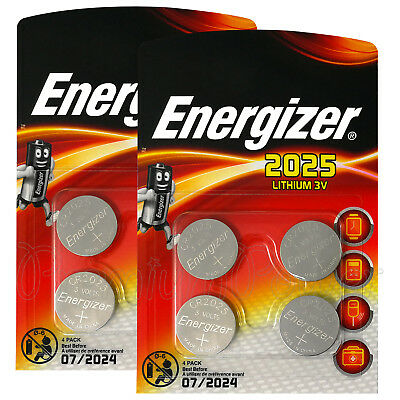 8 x Energizer Lithium CR2025 batteries 3V Coin cell DL2025 Alarms Pack of 4