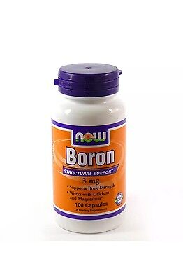 Boron 3mg By Now Foods - 100 Caps FAST 1st Class SHIPPING