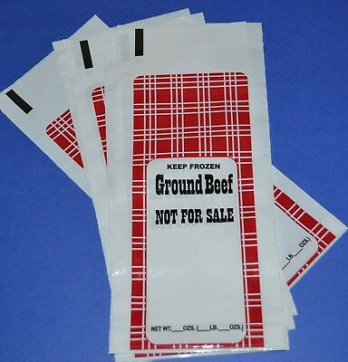 1 LB Ground Beef Freezer Chub Meat  Bags  100 Count Hamburger FREE  USA SHIPPING