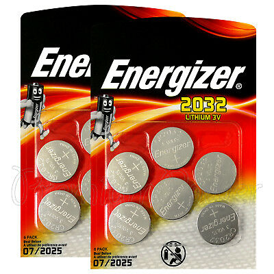 12 x Energizer Lithium CR2032 batteries 3V Coin cell DL2032 BR2032 Pack of 6