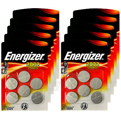 60 x Energizer Lithium CR2032 batteries 3V Coin cell DL2032 BR2032 Pack of 6