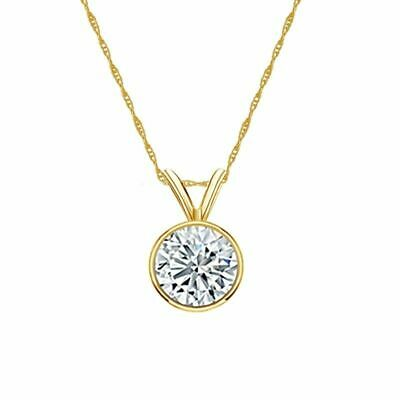 14K Yellow Gold Bezel Round-Cut Diamond Solitaire Pendant 3/4ct H-I, I2 w/Chain