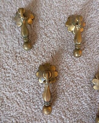 1 Vintage Ornate Brass Tear Drop Furniture Cabinet Heavy Pull Handle Knob Drawer