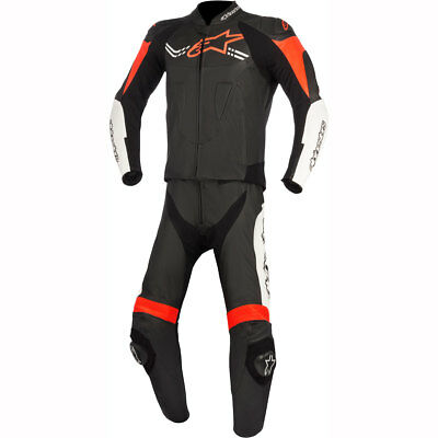Motorcycle Alpinestars Challenger Leather Suit V2 2 Piece - Black White Red UK S