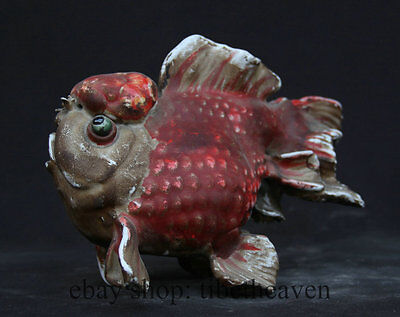 "10"" Old Chinese Famille Rose Pottery Porcelain Fish Art Sculpture Statue"