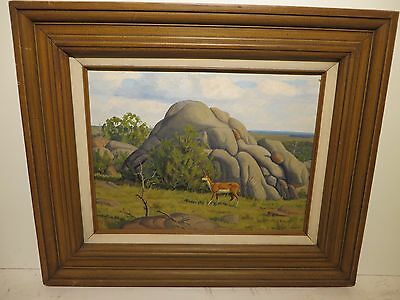 "12x16 org. 1940 oil on board painting by FRED DARGE ""White Tail Deer Wichita Tx"""