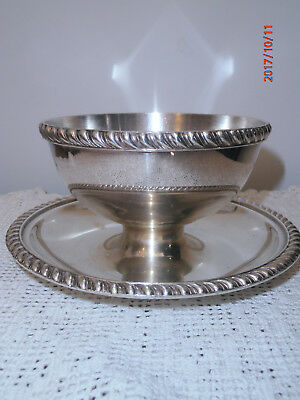 Silver Plate Bowl W/ Undertray Sauce Gravy Condiments Underplate Rope Mayonnaise