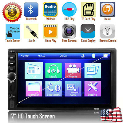 "2DIN 7"" HD Car Stereo Radio MP5 Player Bluetooth Touch Screen + Rear Camera cdg"