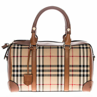 dfe33ace9069 Burberry Women s Medium Alchester in Horseferry Check Bowling Bag Honey Tan