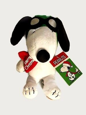 NWT Peanuts Aviator Snoopy Merry Christmas Musical Plush Plays Linus&Lucy Gift