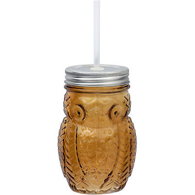 Mainstays® SET OF 4 OWL SIPPER AMBER Mason Jar W/ Lid Straw 15 Oz Drink Home