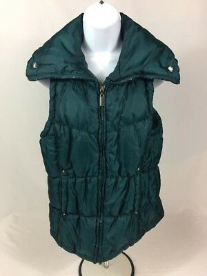 Laura Scott Women's Green Puffer Full Zip Vest Sz L EUC