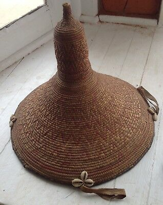 Vintage Ethiopian Harrar African Coiled Basket Cowrie Shell Leather 12""