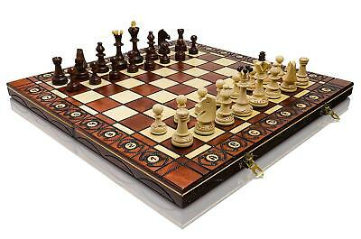 """Great SENATOR 41cm x / 16"""" Wooden Chess Set. Burnt Ornaments on Board and..."""