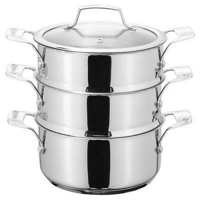 Stellar Three Tier Steamer Set, Silver, 16 cm