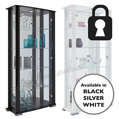 31b4e461b Home Stella 2 Door Glass Display Cabinet Lockable Extra Wide In Black /  White