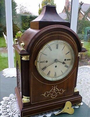 Three Train Fusee Bracket Clock with Westminster Chime in Mahogany case