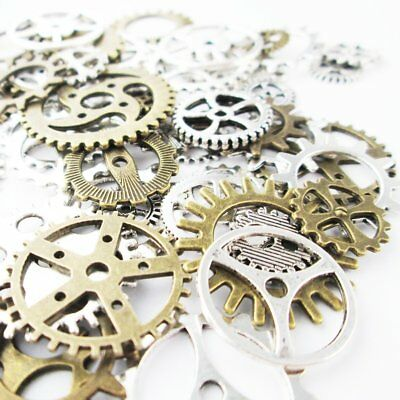 20PC Mixed Antiqued Silver, Antiqued Bronze Metal Alloy Steampunk Gear Charms