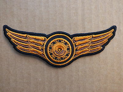 C035 ECUSSON PATCH THERMOCOLLANT ROUE AILES trike rockabilly biker country 1%