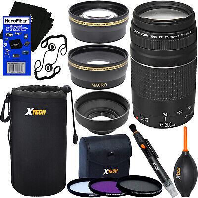 Canon EF 75-300mm f/4-5.6 III Telephoto Zoom Lens +Tele & Wide Lenses + 11pc Kit