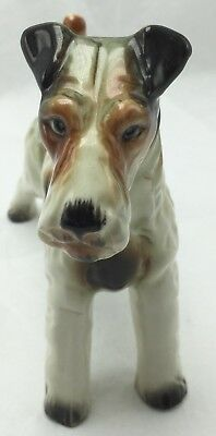 Vtg Wire Fox Terrier Hand Painted Ceramic Statue Sculpture Figurine Wales China