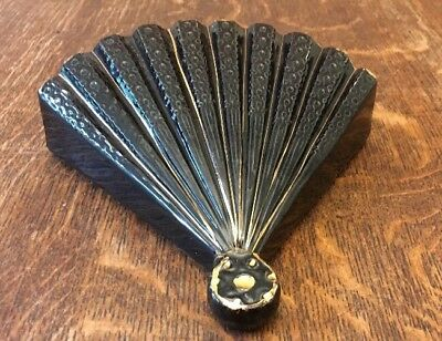 Large Vintage Fan Shaped Wall Pocket/ Vase -22kt Gold Trim