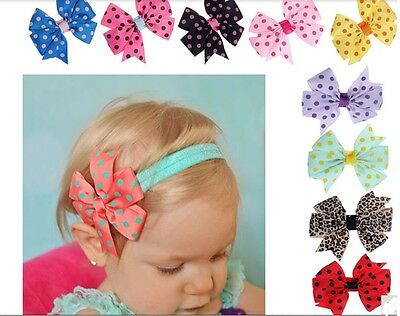 Baby girls soft touch Multi BOW LACE HEADBAND Hairband bridesmaid wedding party