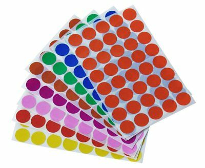"Round Sticker Dots 3/4"" 19mm Colored Coding Labels Circle Map Marking 1280 Pack"