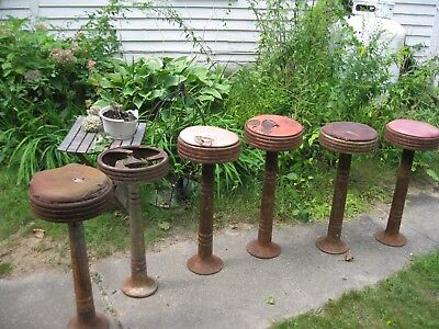 6 Soda Fountain Stools, Drug Store Pharmacy Cast Iron 1930s 1940s