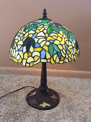 Hand Crafted Stained-Glass Lamp Yellow Green And Blue Perfect Condition!!