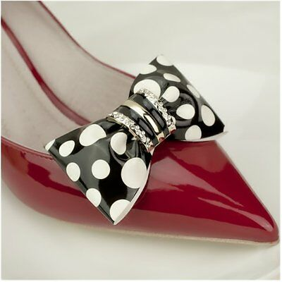 Douqu Clastic Wild Black White Dots Crystal Bow Artificial Leather Shoe Clips 1#