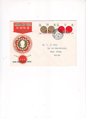 """Hong Kong, 1972, """"year Of Rat"""" Stamp Set On Special Addressed Fdc Freshcondition"""